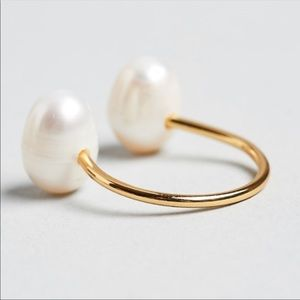 Freshwater Pearl Open 14k Gold Plated Ring Unique